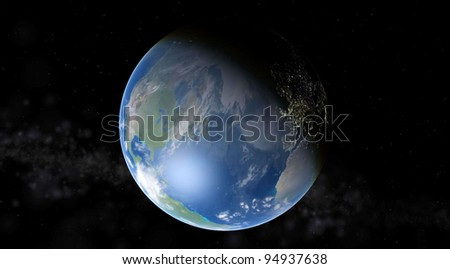 Earth on a background of stars