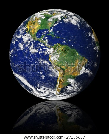 earth on a black background with reflection