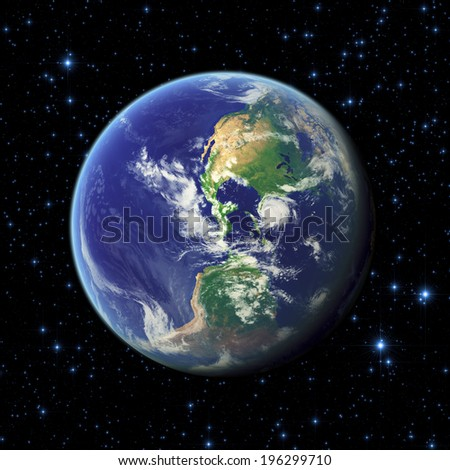 Earth on a dark starry background. Elements of this image furnished by NASA. - stock photo