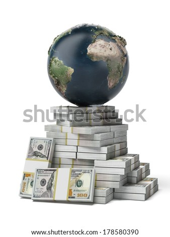 Earth on a pile of dollars isolated on a white background. Elements of this image furnished by NASA - stock photo