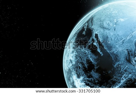 Earth on galaxy abstract backgrounds ,Elements of this image furnished by NASA - stock photo