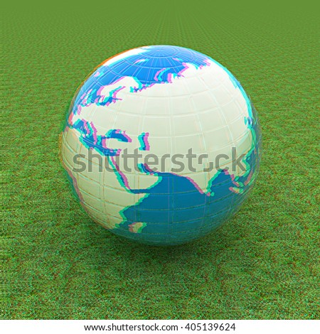 Earth on green grass. Abstract 3d illustration. 3D illustration. Anaglyph. View with red/cyan glasses to see in 3D. - stock photo