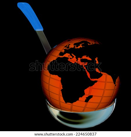 Earth on soup ladle on a black background