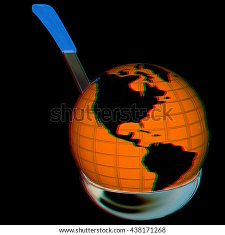 earth on soup ladle on a black background. 3D illustration. Anaglyph. View with red/cyan glasses to see in 3D.