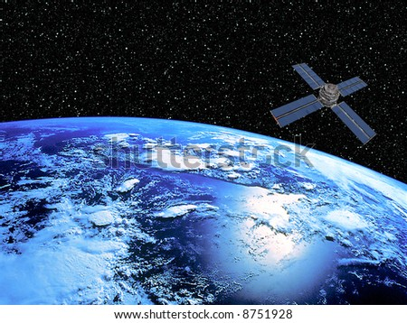 Earth on starscape background and satellite in orbit.