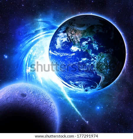 Earth Over A Blue Galaxy - Elements of this image furnished by NASA - stock photo