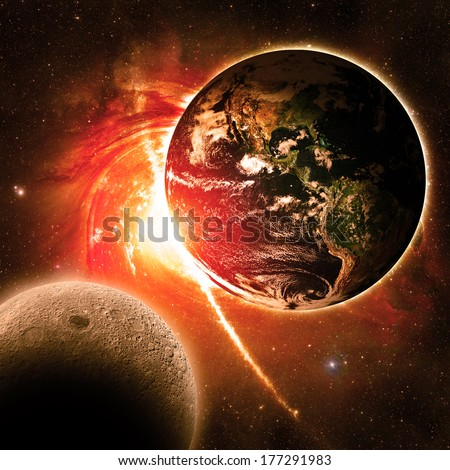 Earth Over a Red Galaxy - Elements of this image furnished by NASA