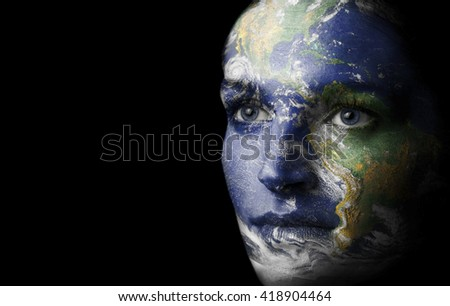 Earth painted face - stock photo