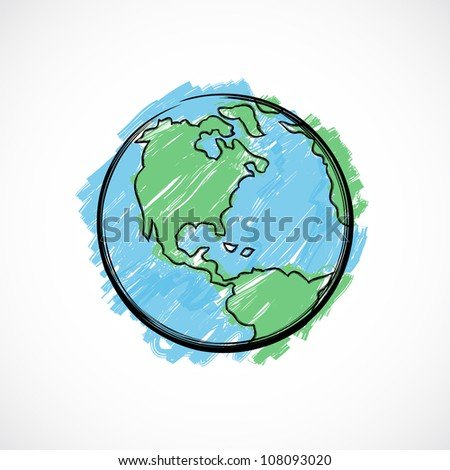 Earth painted with brush on gradient background. - stock photo
