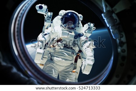 Earth Planet And Astronaut In Space Ship Window Porthole Elements Of This Image Furnished By