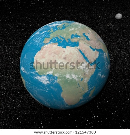 Earth planet and moon in the universe surrounded with plenty of stars - stock photo