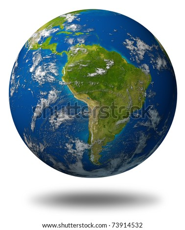 Earth planet featuring South america and latin american countries surrounded by blue ocean and clouds isolated on white. - stock photo