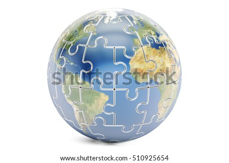Earth planet from puzzles, 3D rendering isolated on white background