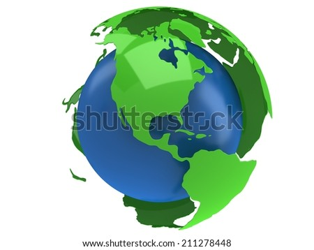 Earth planet globe. 3D render America view on white background. - stock photo