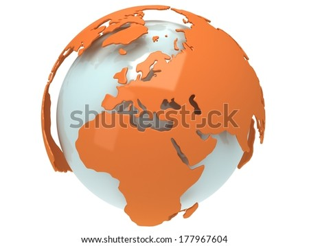 Earth planet globe. 3D render. Europe view. On white background. - stock photo
