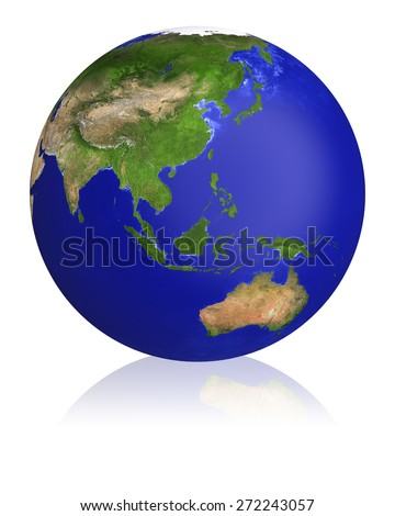 Earth planet globe map. Side of the Asia and Australia. The Earth texture of this image furnished by NASA.
