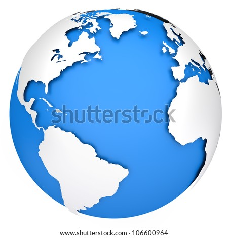 Earth planet globe. Side of the Atlantic Ocean. 3d rendered image - stock photo