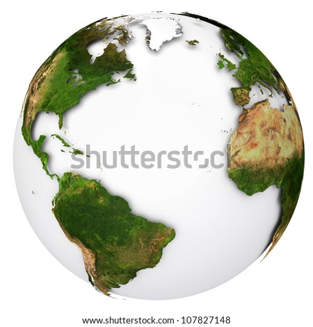 Earth planet globe. Side of the Atlantic Ocean. The Earth texture of this image furnished by NASA. - stock photo