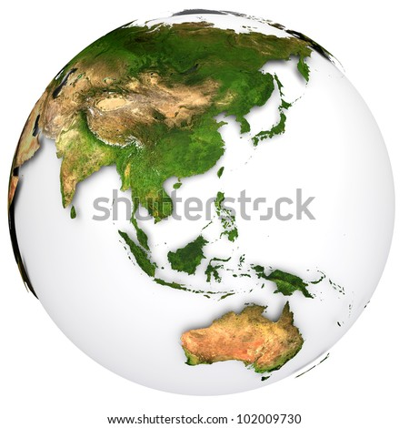 Earth planet globe. Side of the Australia and Asia. The Earth texture of this image furnished by NASA. (http://visibleearth.nasa.gov/view_rec.php?id=2430) - stock photo