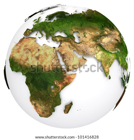 Earth planet globe. Side of the Europe and Africa. The Earth texture of this image furnished by NASA. (http://visibleearth.nasa.gov/view_rec.php?id=2430) - stock photo