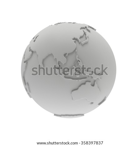 Earth planet globe white and blank 3D render. India view. On white background.