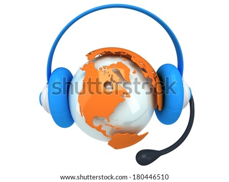 Earth planet globe with headset. 3D render. America view. On white background. Music, call center, phone, hands free concept. - stock photo