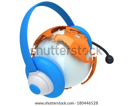 Earth planet globe with headset. 3D render. America view. On white background. Music, call center, phone, hands free concept.