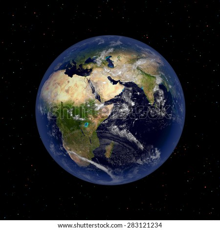 Earth planet illustration view of outer space.Elements of this image furnished by NASA