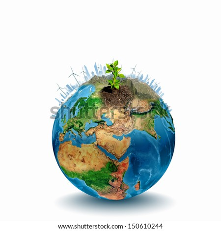 Earth planet image with buildings on surface. Elements of this image are furnished by NASA - stock photo