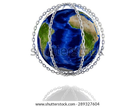 Earth Planet in silver chains closed to lock on white background - stock photo