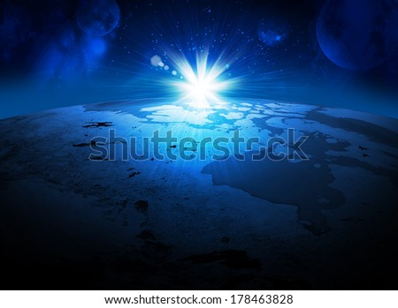 Earth planet in sun rays. Elements of this image are furnished by NASA