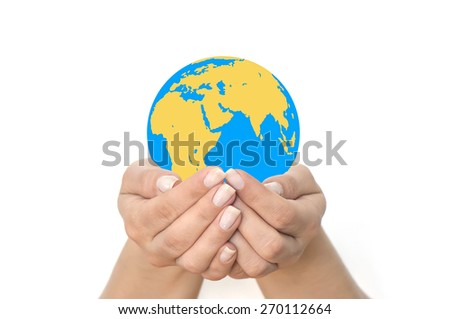 Earth planet in woman hands