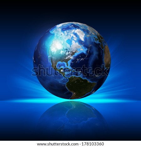 Earth planet on a reflective surface. Elements of this image are furnished by NASA - stock photo