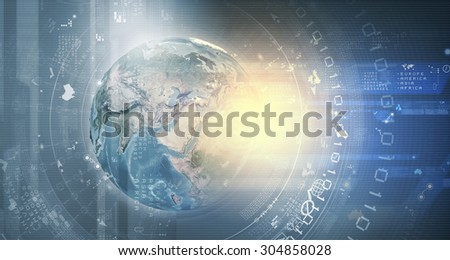 Earth planet on technology background. Elements of this image are furnished by NASA - stock photo