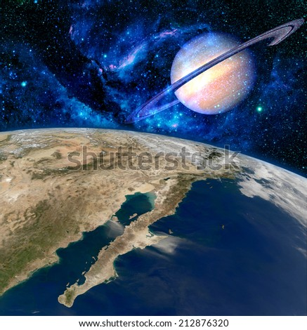 Earth planet Saturn surreal landscape fantasy background. Elements of this image furnished by NASA. - stock photo