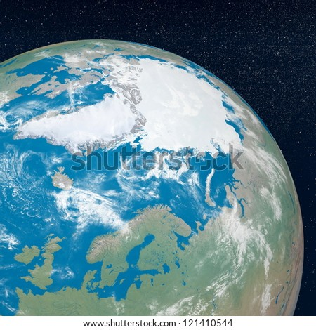 Earth planet showing arctic continent in the universe surrounded with plenty of stars - stock photo