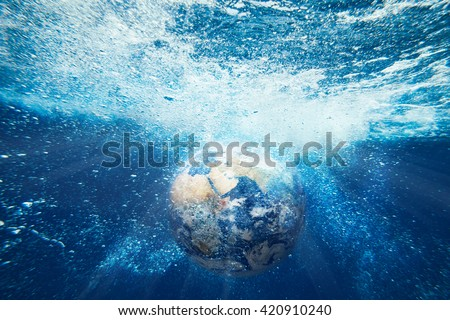 Earth planet underwater view. Elements of this image furnished by NASA - stock photo