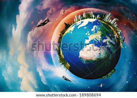 Earth planet. Vacation and travel backgrounds against blue skies - stock photo