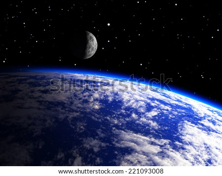 Earth Planet with a Moon - stock photo