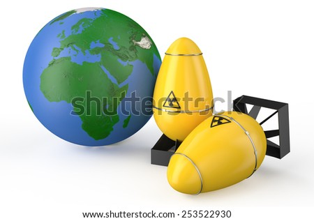Earth planet with air bombs isolated on white background - stock photo