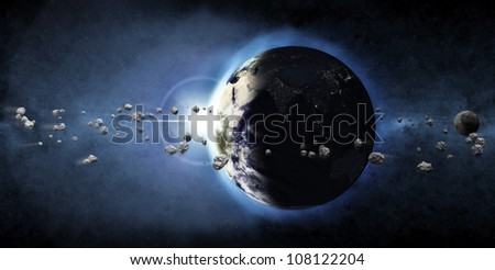 Earth Planet with Rising Sun and Asteroid Belt (Elements of this image furnished by NASA) - stock photo