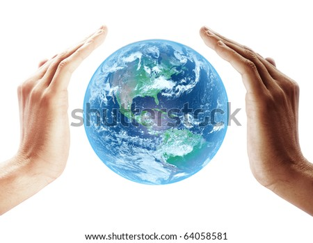 Earth protect on multiracial human hands