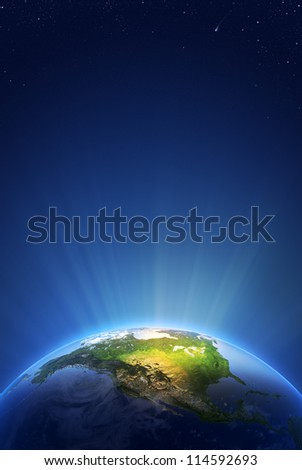 Earth Radiant Light Series - North America  (Elements of this image furnished by NASA- earthmap  http://visibleearth.nasa.gov)