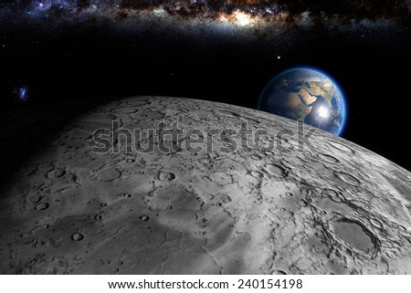earth rise as seen from near the moon: computer generated image of planet earth in space. Elements of this image furnished by NASA. - stock photo