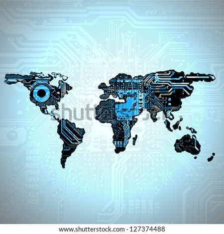Earth's continents with texture digital board - stock photo