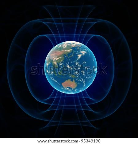 Earth's magnetic field - scientific illustration - stock photo