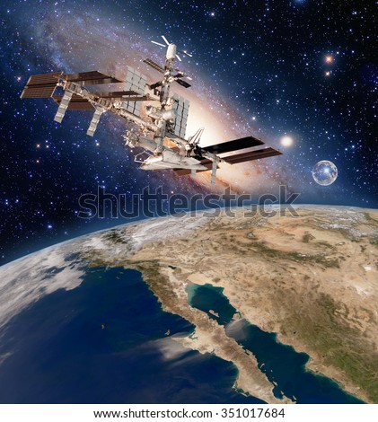 Earth satellite astronomy international space station iss meteorology milky way galaxy. Elements of this image furnished by NASA.