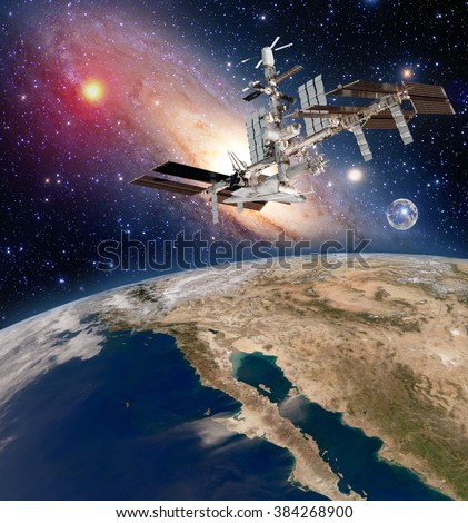 Earth satellite astronomy international space station iss meteorology milky way galaxy. Elements of this image furnished by NASA. - stock photo
