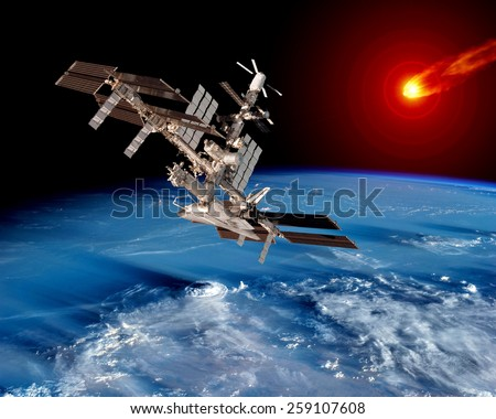 Earth satellite space station asteroid meteor. Elements of this image furnished by NASA. - stock photo