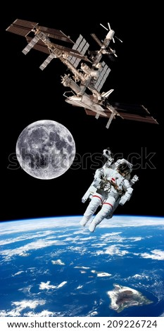 Earth satellite space station astronaut background. Elements of this image furnished by NASA. - stock photo